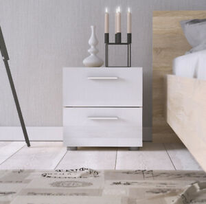 white nightstand with drawers