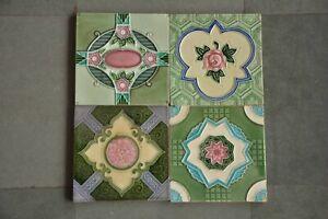 4 Pc Vintage Majolica Different Designs Art Nouveau Architecture Tiles,Japan