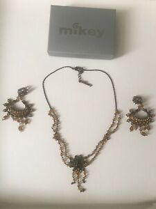 Mikey London Costume Jewellery Necklace & Earrings Set (Brown & Amber) RRP £50