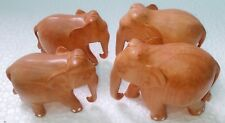 Wooden Elephant Handmade Carved Unique Statue Home Decor Art Lot of 4