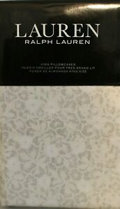 Ralph Lauren Allaire Small Floral 2 KING Pillowcases Grey Beige Modern Cottage