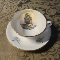 VINTAGE TEA CUP AND SAUCER ♡ STANLEY ENGLAND BONE CHINA NAUTICAL WITH GOLD GILT