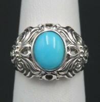QVC Sterling Silver Ornate Sleeping Beauty Turquoise Designer Ring Sz 5