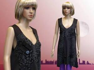 Damen Tunika Kleid Minikleid Ärmellos Rundhals Grau XL
