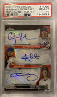 2015 Topps Chrome Clayton Kershaw Chris Sale Jon Lester Triple Auto 2/5 Psa 10