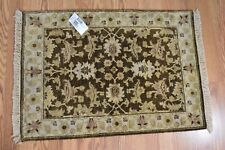 $415 Feizy Drake Collection Hand Knotted 100% Wool Pile Brown Beige 2'x3' Rug