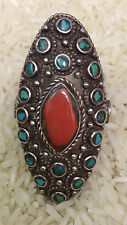 Ring Silver Oval Turquoise Coral Tibetan Ring Size 9