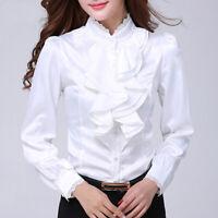 Lady Satin Blouse Top Faux Silk Lace Shirt Ruffle Frill Lolita Office Formal New