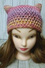 Crochet Chunky hat kitty pussy cat ears woman's hand made Strawberry pink beanie