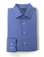 Peter Millar Summer Comfort Mens Size Large Blue White Check Button Up L/S Shirt