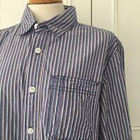 Vintage FAT FACE Men's Blue Red White Check Long Sleeve Shirt Size M Medium