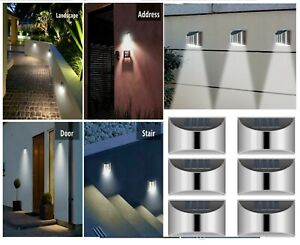 8 X Solar Power LEDs Garden Fence Lights Wall Light Patio Outdoor Security Lamps
