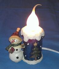 """Snowman Candle Light Woodcarving style painted w/ wax-type light bulb, 5.5"""""""