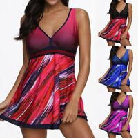 Plus Size Women's Swimdress One Piece Swimsuit Swimwear Beachwear Push Up Padded