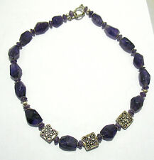 STERLING SILVER AMETHYST NECKLACE STRING STRAND 18 INCHES LONG