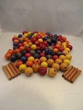 "Lot of 126 Vintage Macrame Beads Multi Color 1/4"" Hole"