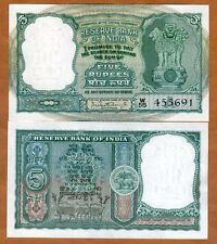 India,  5 Rupees, ND (1962-1967), P-36a, UNC > W/H