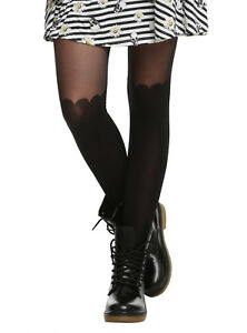 HOT TOPIC SHEER TOP OPAQUE BLACK SCALLOP FAUX  STOCKINGS-LIKE FOOTED TIGHTS NWT