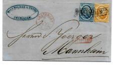 NVPH nr 4 + 6 combinatiefrankering schaarse brief naar Mannheim 1867