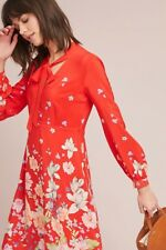 NWT Anthropologie Lily Printed Red Silk Dress by Moulinette Soeurs Size 4