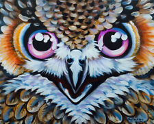 Olie Anna Griffard ORIGINAL PAINTING HORNED OWL BROWN GREEN EYES BIRDS OF PREY