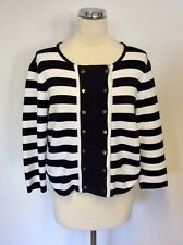 HOBBS NAVY BLUE & WHITE STRIPE COTTON DOUBLE BREASTED COTTON CARDIGAN SIZE 14