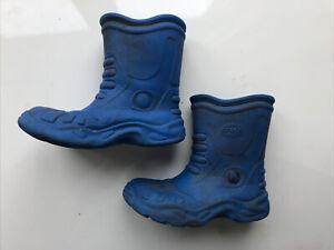 Kids Bright Blue Crocs Wellington Boots Winter Mud Shoes Size M2 W4