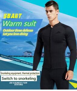 3MM Men Split Long-sleeved Neoprene Black Wetsuit for Sunscreen UV Keep Warm