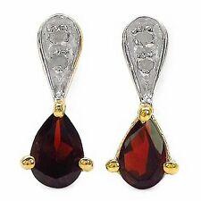 Ohrringe/Ohrstecker mit Diamant/Granat-0,94 Karat Silber-vergoldet 10 Karat