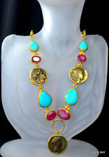 Ancient Roman Coin Necklace Statement Turkey Gold Genuine Turquoise Garnet