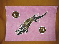 AUS-23 Crocodile pink Australian Native Aboriginal PAINTING Artwork T Morgan