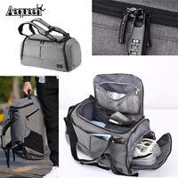 Aequeen Men Handbag Waterproof Lock Travel with Shoes Backpack Duffel Gym Bag US