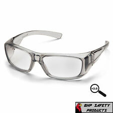 PYRAMEX EMERGE GRAY 2.0 CLEAR FULL READER LENS READING SAFETY GLASSES Z87+ 1 PR
