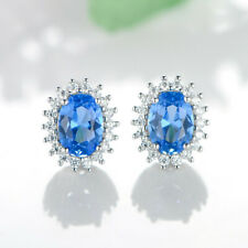 Top Quality Sunflower Blue Topaz Sapphire Gemstone Silver Stud Hook Earrings