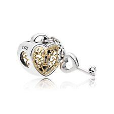 Genuine Pandora Silver & 14K Gold Heart Lock Charm Bead 7964831