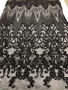 BLACK 4 WAY STRETCH SEQUINS FABRIC - SEQUINS ON A MESH DRESS-PROM-GOWN BY YARD