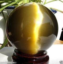 100MM + STAND Beautiful ASIAN QUARTZ TIGER EYE CRYSTAL HEALING BALL SPHERE AAA