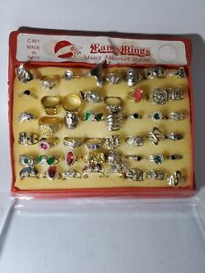 Vintage Assorted Fancy Rings Full Store Display Made in India RARE 48 RINGS