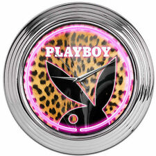 Licensed Playboy Leopard Bunny Large Neon Wall Clock - 38cm Diameter