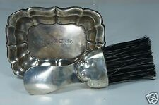 VINTAGE STERLING SILVER BRUSH & SMALL TRAY/ DISH VANITY SET MONO