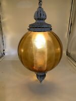 "VTG Hollywood Regency Amber Glass Swag Lamp w/ Diffuser, Mid Century, 10"" globe"
