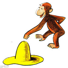 "3.5"" Curious george monkey hat set wall safe sticker border cut out character"