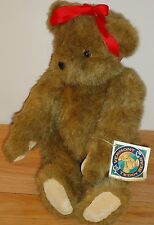 "Vermont Teddy Bear Girl Bear w/Red Hair Ribbon 16"" stuffed plush w/Tag 1994"