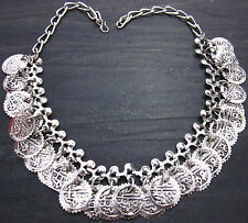 Coin Charm Necklace Choker Vintage Gypsy Hippy Boho Kuchi Tribal Fusion Jewelry