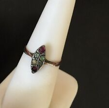 Antique Victorian 333 8K gold yellow  white ring 6 accents stones size 6.5