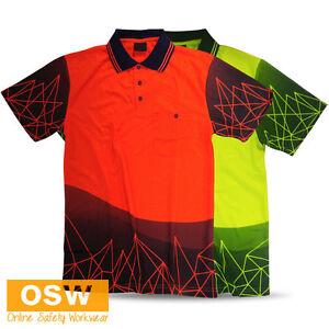 Hi Vis Mens Ladies Work UNIFORM Light Weight Breathable Tradies Polo Shirts