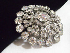 Vintage Big Clear Rhinestones DOMED Brooch Pin Burst INCREDIBLE Mega SPARKLE
