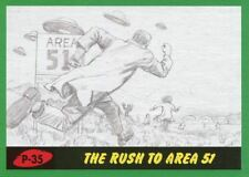 Mars Attacks The Revenge Green Pencil Art Base Card P-35 The Rush to Area 51