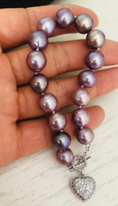 "charming  10-11mm south sea lavender  pearl bracelet 7.5-8"""