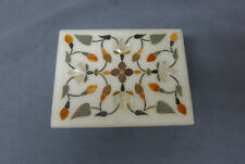 India Pietra Dura Marble inlaid Stone Jewelry Box Floral Design
